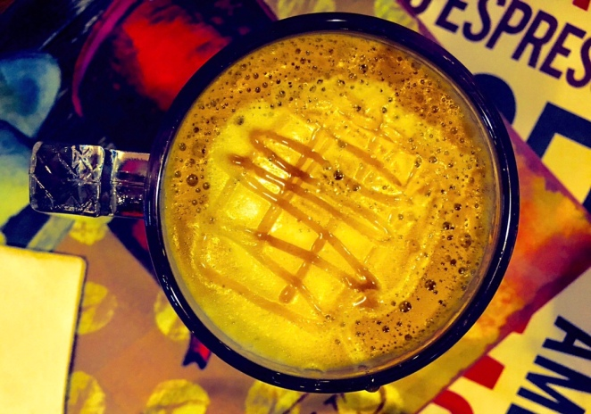 Taylor's Coffee with a Heart's Caramel Macchiato